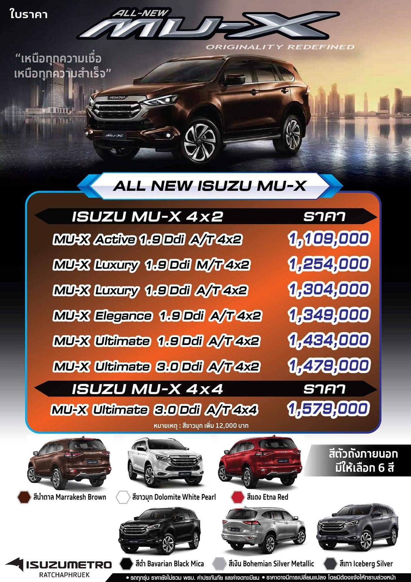 ราคา All New Isuzu Mu-X (มิวเอ็กซ์) 2021 ทุกรุ่น ทุกสี